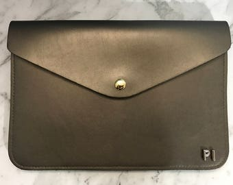 Personalised Monogram Leather Envelope Clutch in Metallic Dark Gold with detachable wrist strap