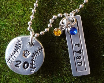 Baseball/Softball Necklace, Handstamped Pewter, Aluminum-Personalized, made to order-Name, player #, team color gems. More sports available.