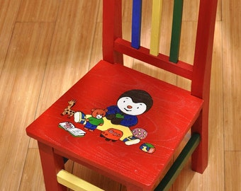 TCHOUPI chair for child. French animation. Chaise en bois pour enfant - dessin de Tchoupi. Nursery furniture, Wood Hand Painted Furniture