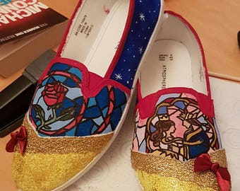 Disney Beauty and the Beast Inspired Hand Painted Shoes