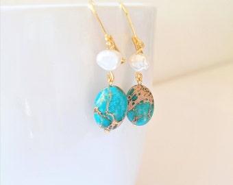 Sea sediment jasper earrings with a pearl