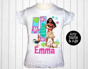Moana Shirt - Girls Moana Birthday Shirt Personalized with Name and Age