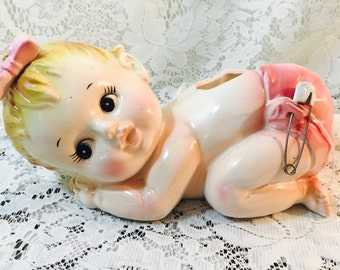 Vintage Porcelain Baby Girl Planter - Blonde Hair - Pink Diaper - Real Diaper Pin
