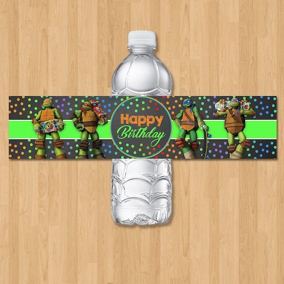 Teenage Mutant Ninja Turtles Drink Label - Chalkboard Purple Pink - Ninja Turtle Birthday Party - Ninja Turtle Party Favor - TMNT Water