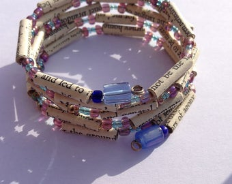 Purple and Blue Sense and Sensibility Book Bead Bracelet