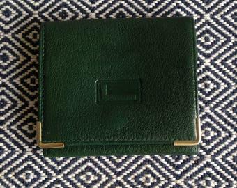 French vintage LANCEL Paris green leather wallet