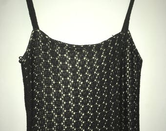 90's Vintage Long Black netted dress, Size 8/10/12
