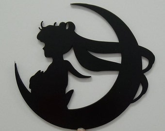Laser Cut Maple Decoration of a Girl and the Moon