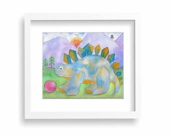 Stegasaurus Dinosaur Kicking A Ball Watercolour 8x10 Painting