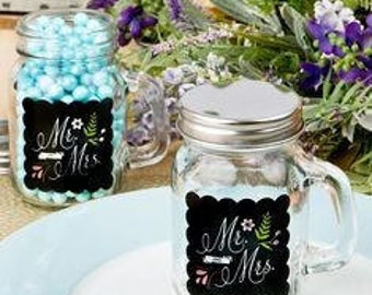 "Mason Jar with Handle - Sayings Collection ""Mr & Mrs' 12 oz glass"