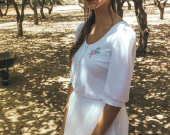 Two piece wedding dress / Two piece boho wedding dress with fancywork / Fancywork wedding dress / camellia blossom water