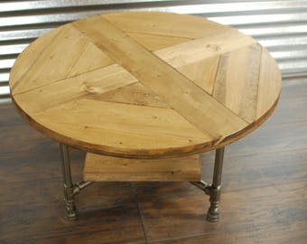 Round Industrial Coffee Table W/ Shelf, Industrial Pipe Legs, Rustic Table,  Reclaimed