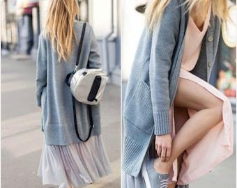 Bohemian wool coat, tutu skirt, coat fashion, fashion knitwear, long wool cardigan, grey bohemian cardigan,  spring outwear, women knitwear
