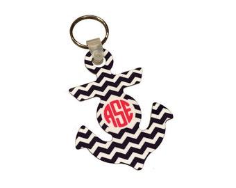 Monogrammed Anchor Keychain
