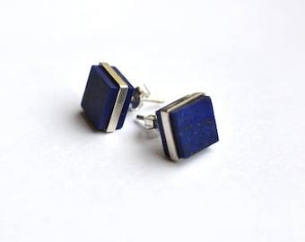 Square Lapis Silver Stud Earrings, Lapis Earrings, Sterling Silver Lapis Earrings, Blue Lapis Square Stud Earrings, Silver Studs,Lapis Studs