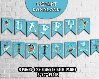 MOANA BIRTHDAY BANNER,Vaiana party supplies,Oceania Party Banner,Party Flags,Printable Banner,Instant Downlad party paper supplies,Birthday