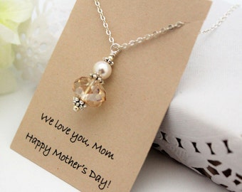 MOTHERS DAY Gift , Gift for Mom, Gift for Mother, CHAMPAGNE Necklace, Pearl Necklace for Mom, Necklace for Mother Crystal Necklace For Mom