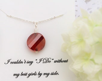 Will you be My BRIDESMAID Gift BRIDESMAID Proposal BRIDESMAID Ask Red Crystal Necklace Fall Wedding Jewelry Thank you Bridesmaid Gift