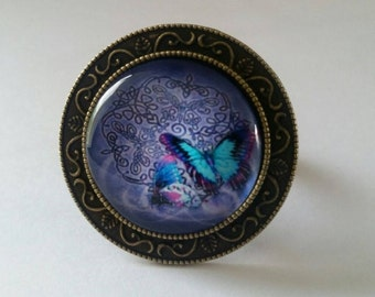 Butterfly, nature, romantic, steampunk style ring, bronze support