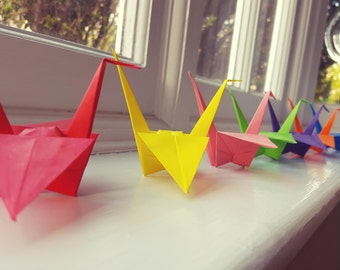 Pack of 10 Handmade Origami Cranes, height 7cm approx