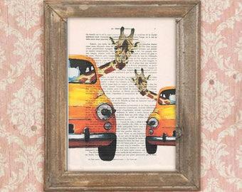 Giraffe wedding gift, Giraffes in car, Giraffe print, Giraffe artwork, Giraffe art, vintage paper art, kids room decor, wedding print