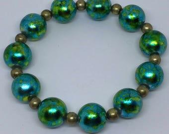 Blue/Green and Gold Bracelet