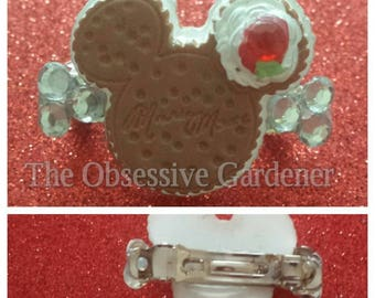 Minnie Mouse Style Cake Hair Clip with Rhinestone Detail
