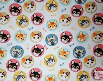 Cat fabric by the Yard, Designer Apparel kitten blue Fat quarter yardage Cats Quilting cotton