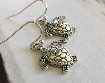 Turtle Earrings, Tortoise Earrings, Turtle Jewelry, Ocean Earrings, Silver Turtle Earrings, Fun Jewelry, Hawaiian Jewelry, Ocean Jewelry