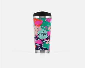 Travel Coffee Mug Personalized, Flamingo Travel Mug, Tropical Travel Tumbler, Monogram Mug, Stainless Steel Mug, To Go Coffee Mug, 16 oz