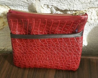 Faux leather handmade pouch