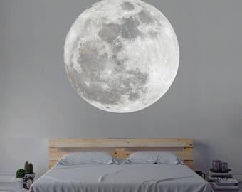 Moon Wall Decal Nursery Wall Decal Moon Wall Art Decor Vinyl Wall Decal