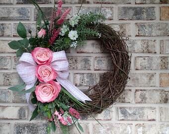Rustic Pink Roses Wreath