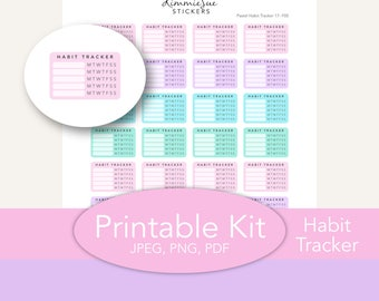 Printable Planner Stickers | Functional Habit Tracker | Erin Condren Planner | PDF JPEG Trace Files | Planner Printable | Stickers Printable