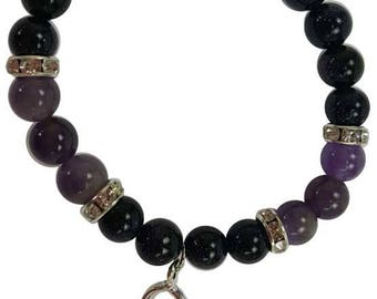 8mm Purple Goldstone and Amethyst Stretch Bracelet with Goddess Charm and Crystal Accents