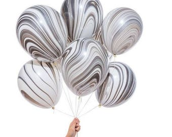 Marble Balloons, Black and White Latex Balloons, Black and white marble balloons, latex balloons, party balloon, modern balloons,