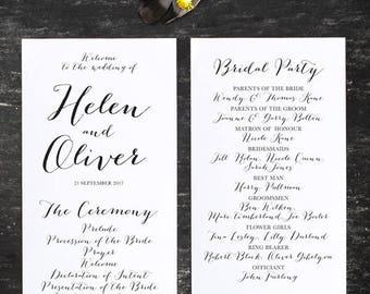 Modern Calligraphy Script 2 Wedding Program Printable