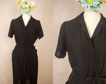 Vintage 1940s Black Belted Rayon Collared Sheath Dress w/ Pockets