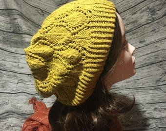 Mustard Yellow Shield Lace Slouchy Hat/Beanie