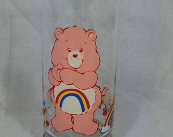 """Vintage 80's """"Cheer Bear"""" Care Bears collectors glass"""