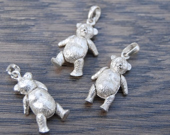 SOLD OUT One Sterling Silver Teddy Bear Charm Pendant-Movable Arms & Legs DB1J
