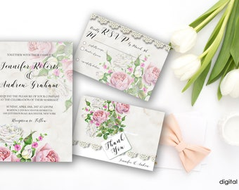 Wedding Invitation Suite Printable Floral Digital Wedding Blush Rose Gold White Watercolor Roses Beige Lace Invitation Wedding Invite WS-010
