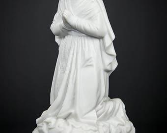 Delightful Saint Bernadette Antique Parian Porcelain Statue Vintage St Soubirous Antique Religious Figurine 1
