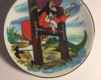 """Disney Letter H for Captain Hook Miniature Porcelain Plate—Vintage, Part of the """"Disney's Alphabet"""" Collection—1980s"""