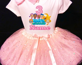 Bubble Guppies***With NAME*** 3rd Third 3 Birthday Dress   Fast Shipping  party Shirt & Pink Tutu outfit Personalized