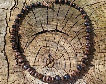 Viking black and copper beaded necklace