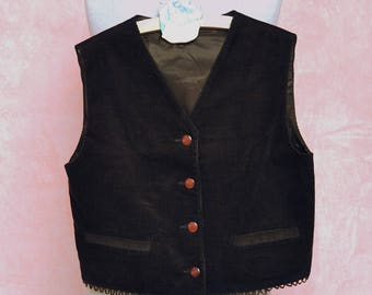 VELVET VEST, gilet, brown waistcoat, ceremony, boy, elegant, orange buttons, lined, made in Italy, 11 years, 146, cotton, stylish, kid
