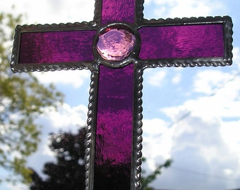 Stained Glass Purple Cross, Suncatcher, Handmade in England