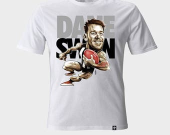 T-shirt Caricature Dane Swan Collingwood Magpies