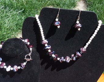 Purple crystal and seashell beads